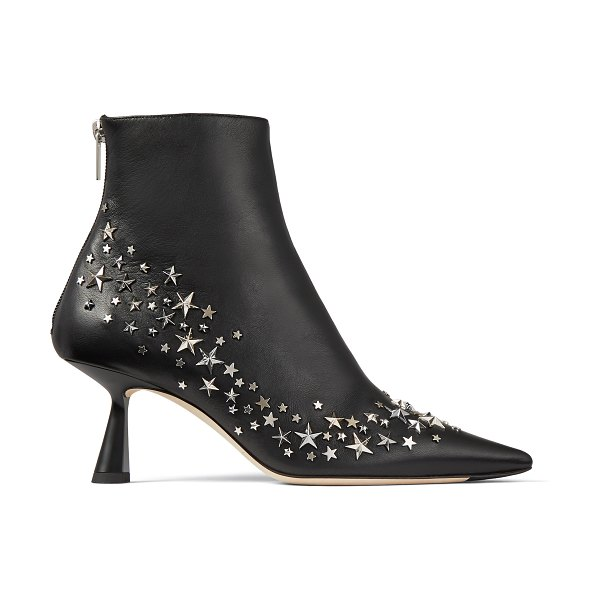 Jimmy Choo KIX 65 Black Nappa Leather Pointed Toe Booties with Star Constellation Detail in black