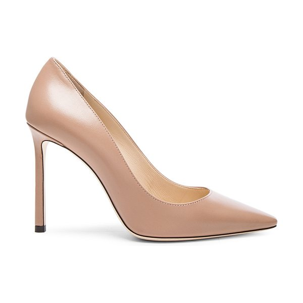 JIMMY CHOO Romy 100 Leather Pumps - Leather upper and sole.  Made in Italy.  Approx 100mm/ 4...