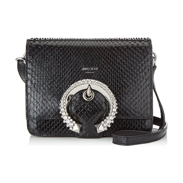 Jimmy Choo MADELINE SHOULDER BAG Black Shiny Python Shoulder Bag with Crystal Buckle in black