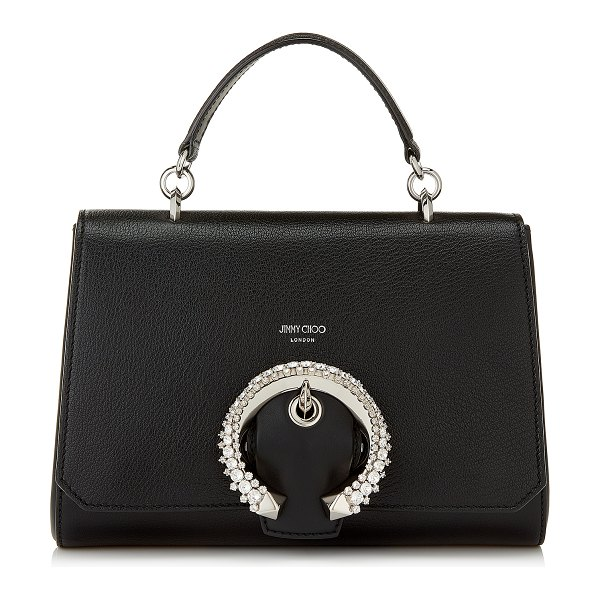 Jimmy Choo MADELINE TOP HANDLE Black Goat Calf Leather Top Handle Bag with Crystal Buckle in black