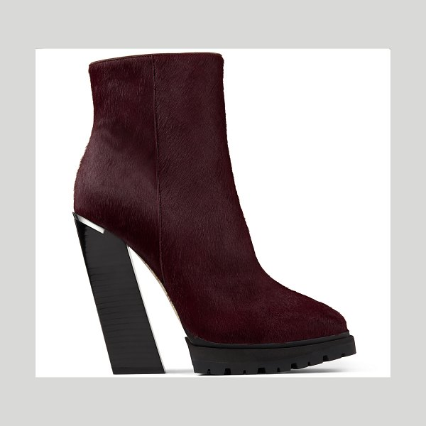 Jimmy Choo MADRA 130 Bordeaux Pony Skin Platform Ankle Boots in bordeaux