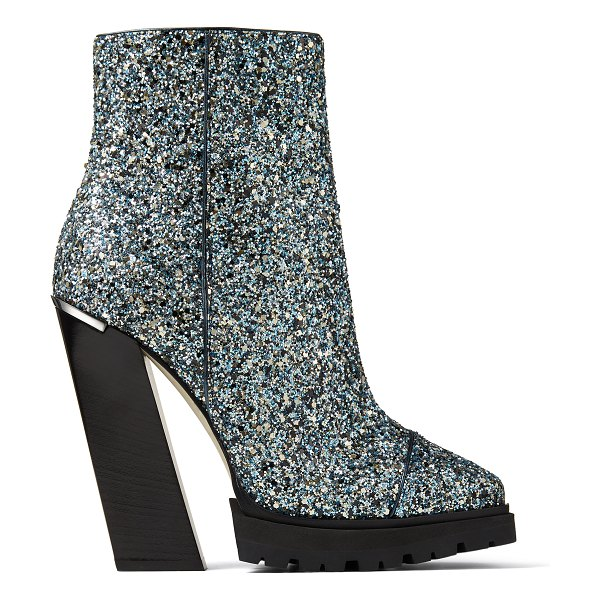 Jimmy Choo MADRA 130 Electric Blue Party Coarse Glitter Fabric Platform Ankle Boots in electric blue mix