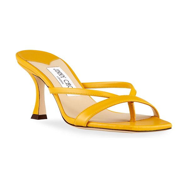 Jimmy Choo Maelie Leather Thong Slide Sandals in yellow