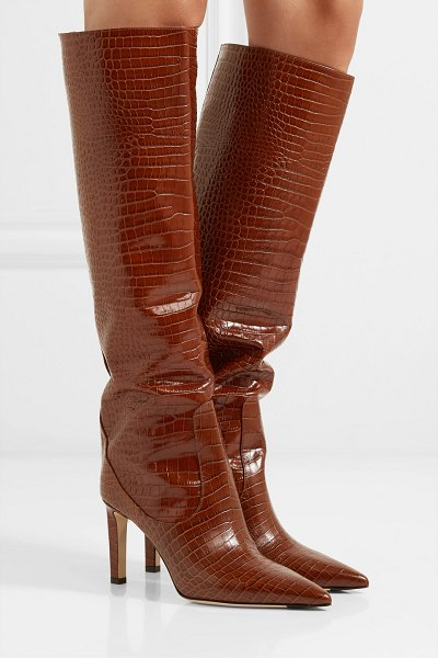 Jimmy Choo mavis 85 croc-effect leather knee boots in tan