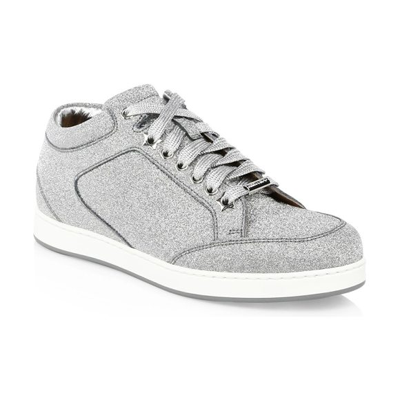 Jimmy Choo miami glitter sneakers in silver - A glitter leather finish uplifts a classic sneaker...