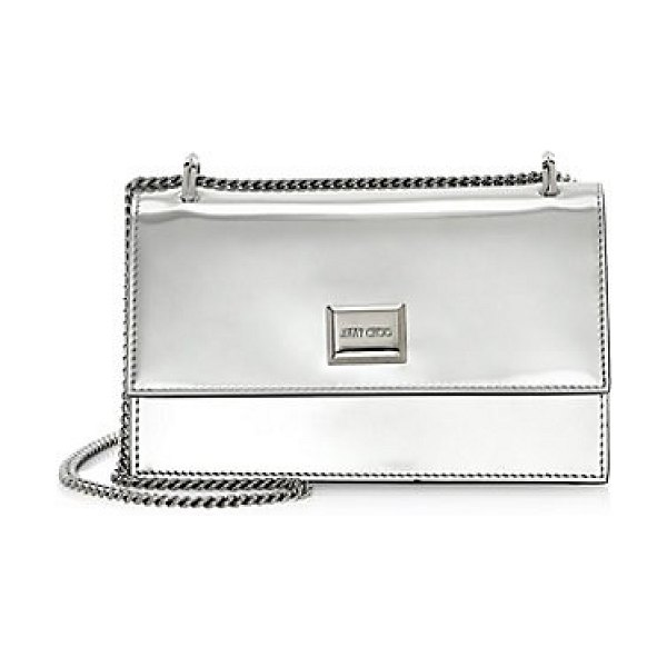 Jimmy Choo mini leni liquid metallic crossbody bag in silver - Striking metallic crossbody bag is punctuated with a...