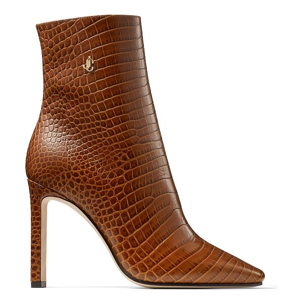Jimmy Choo MINORI 100 Cuoio Croc Embossed Leather Ankle Boots in cuoio