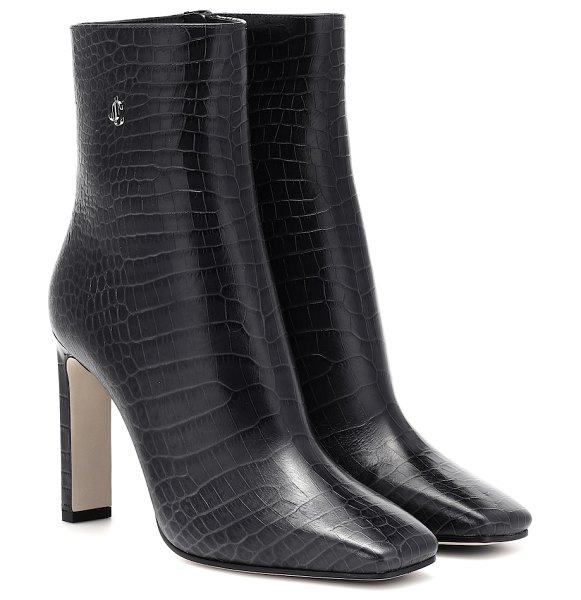 Jimmy Choo minori 100 mock-croc leather boots in blue