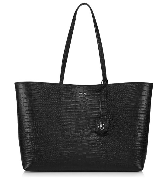 Jimmy Choo nine2five snakeskin-embossed leather tote in black