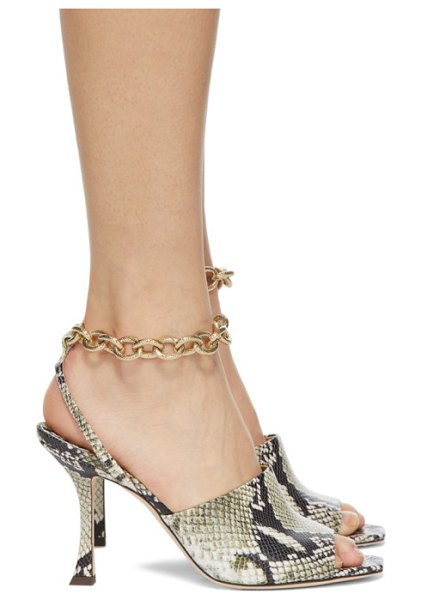 Jimmy Choo off-white snake sae 90 sandals in roccia,gold