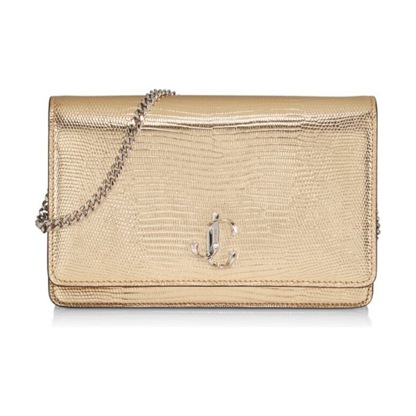 Jimmy Choo palace metallic snakeskin-embossed leather clutch in gold silver