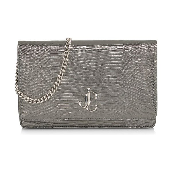 Jimmy Choo palace snakeskin-embossed leather clutch in gunmetals
