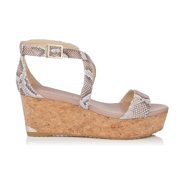 JIMMY CHOO PORTIA 70 Ballet Pink Nubuck Snake Printed Leather Cork Wedge Sandals - The Portia wedge sandal in ballet pink nubuck snake printed...