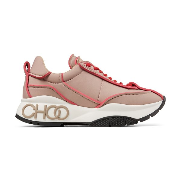 Jimmy Choo RAINE Ballet Pink and Red Padded Nylon trainers in ballet pink/red
