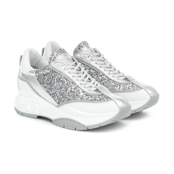 Jimmy Choo raine embellished leather sneakers in silver