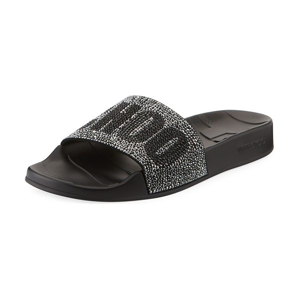 Jimmy Choo Rey Crystal Logo Pool Slide Sandal in black mix - Jimmy Choo leather pool sandal with logo crystal-studded...