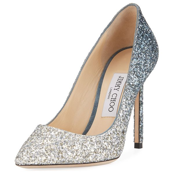 "Jimmy Choo Romy Glitter Degrade 100mm Pumps in dark blue - Jimmy Choo gradating glitter fabric pump. 4"" covered..."