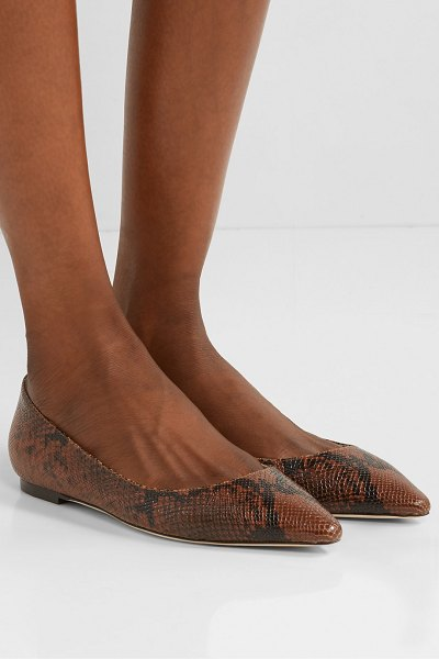 Jimmy Choo romy snake-effect leather point-toe flats in snake print