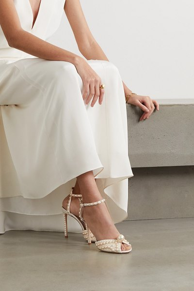 Jimmy Choo sacora 100 faux pearl-embellished satin sandals in white
