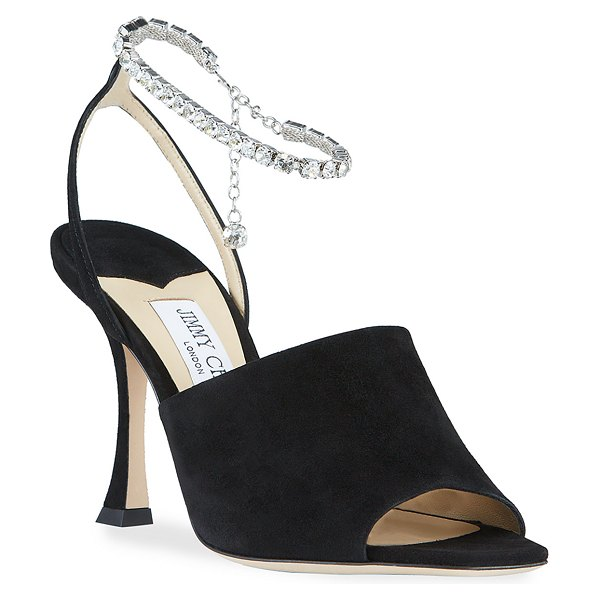 Jimmy Choo Sae Suede Crystal-Chain Sandals in black