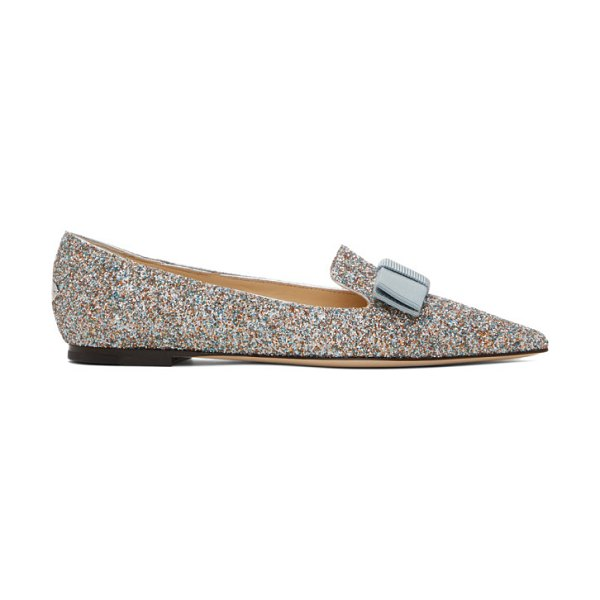 Jimmy Choo silver gala joy loafers in silver,multi