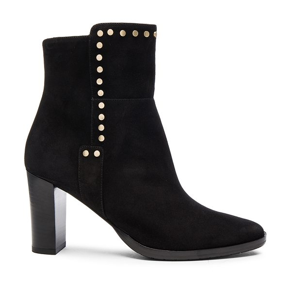 Jimmy Choo Harlow 80 Suede Booties in black - Suede upper with rubber sole.  Made in Italy.  Approx...