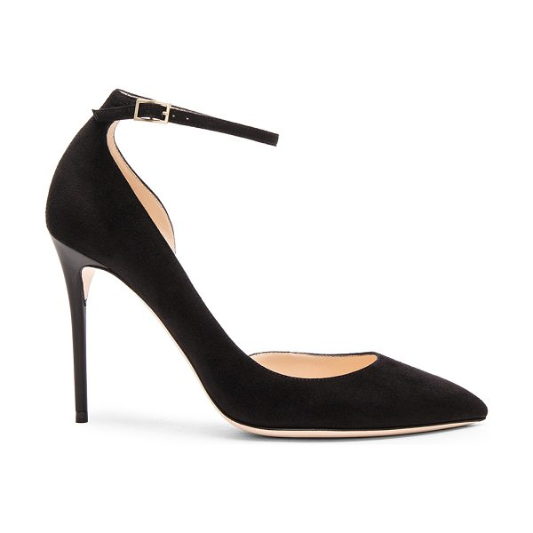 Jimmy Choo Suede Lucy Heels in black - Suede upper with leather sole.  Made in Italy.  Approx...