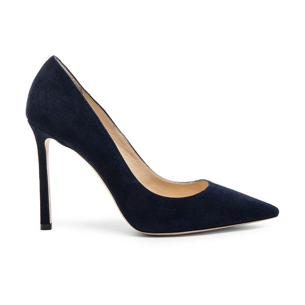 Jimmy Choo Romy 100 Suede Pumps in blue - Suede upper with leather sole.  Made in Italy.  Approx...