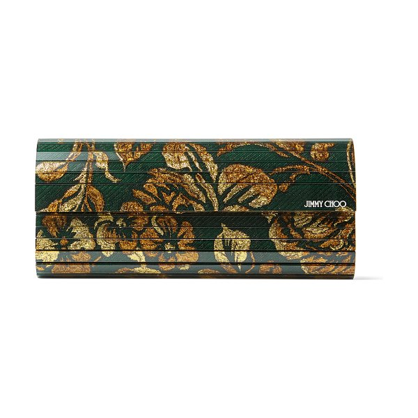 Jimmy Choo SWEETIE Dark Teal Brocade Acrylic Clutch Bag in dark teal