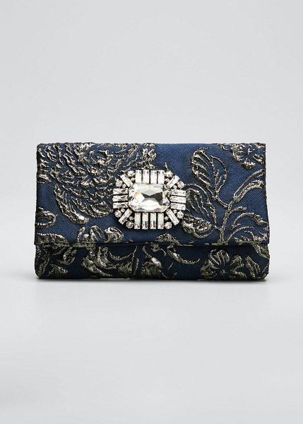 Jimmy Choo Titania Jeweled Cocktail Clutch Bag in navy