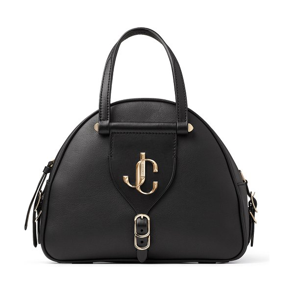 Jimmy Choo VARENNE BOWLING/S Black Calf and Vacchetta Leather Bowling Bag with Gold JC Logo in black/black