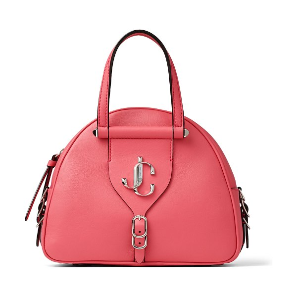 Jimmy Choo VARENNE BOWLING/S Bubblegum-Pink Calf and Vacchetta Leather Bowling Bag with Gold JC Logo in bubble/bubble