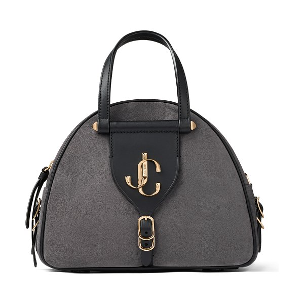 Jimmy Choo VARENNE BOWLING/S Dusk Suede and Black Vacchetta Leather Bowling Bag with Gold JC Logo in dusk/black
