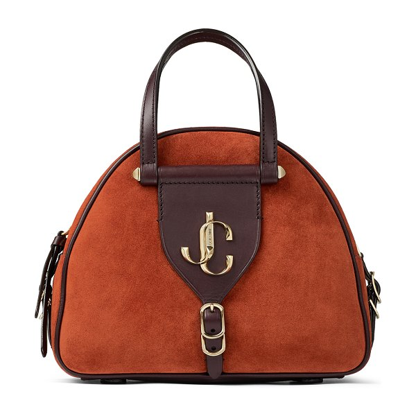 Jimmy Choo VARENNE BOWLING/S Rust Suede and Aubergine Vacchetta Leather Bowling Bag with Gold JC Logo in rust/aubergine