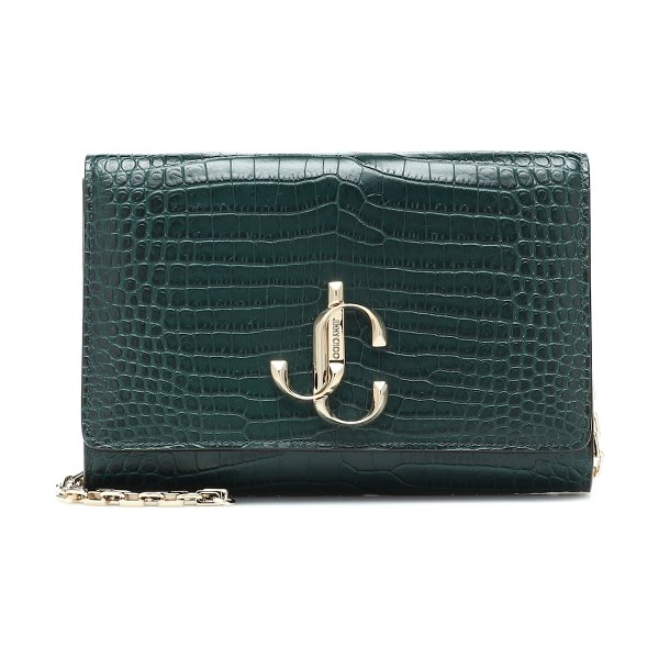 Jimmy Choo varenne croc-effect leather clutch in green