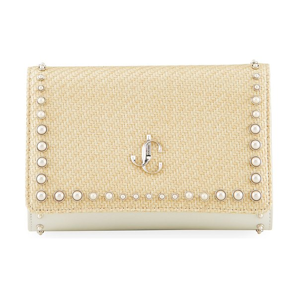 Jimmy Choo Varenne Pearly Stud Straw & Leather Clutch Bag in naturallatte