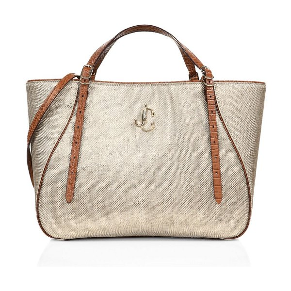 Jimmy Choo varenne reversible lamé metallic raffia & leather tote in natural