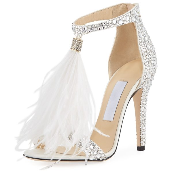 4296a2b971 Jimmy Choo Viola Crystal Satin Sandal With Feather in White | Shopstasy