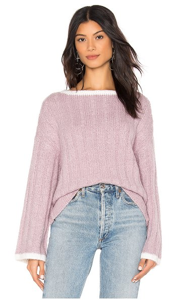 J.O.A. Boat Neck Sweater in lavender - 80% acrylic 13% polyamide 5% wool 2% elastane. Dry clean...