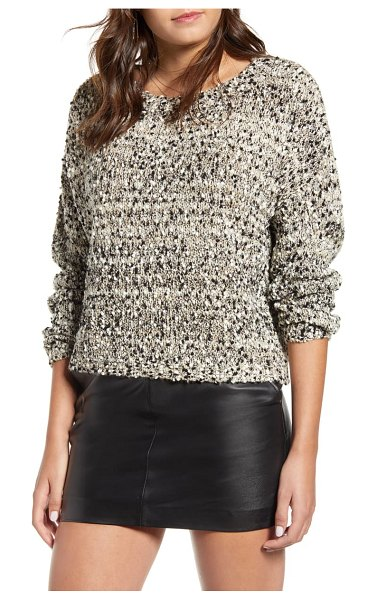 J.O.A. button back sweater in taupe multi