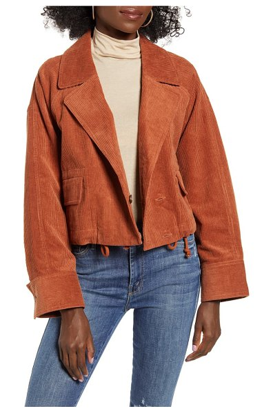 J.O.A. cropped utility jacket in rust