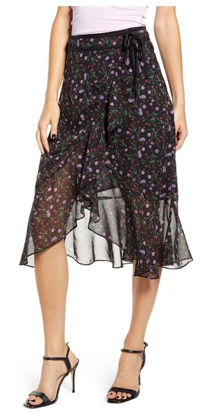 J.O.A. floral wrap midi skirt in black floral