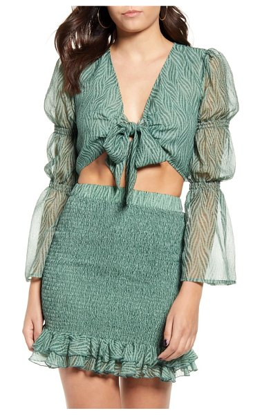J.O.A. tie front crop top in green