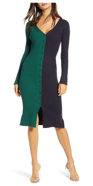 J.O.A. v-neck sweater dress in navy/ green