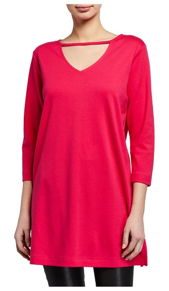 Joan Vass 3/4-Sleeve Crewneck Tunic in pink
