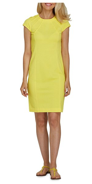 Joan Vass Cap-Sleeve Casual Dress in yellow