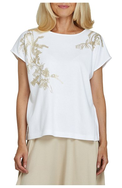 Joan Vass Embroidered Big Tee in white