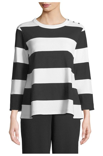 Joan Vass Striped Pullover Top in black/white