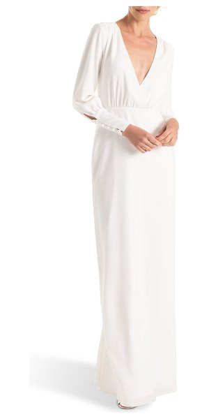 Joanna August page long sleeve column wedding dress in white