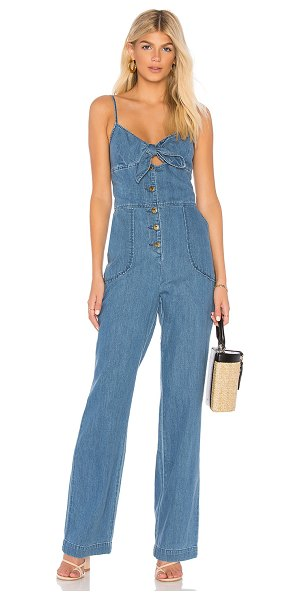 "Joe's Jeans Lucia Denim Jumpsuit in medium indigo - ""100% cotton. Adjustable shoulder straps. Front tie and..."